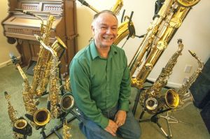 Tim Price and his saxophone collection
